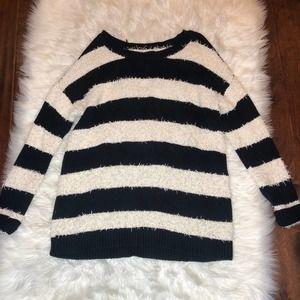 new american eagle boyfriend striped sweater med